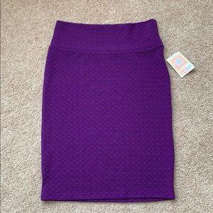 NWT Lularoe purple textured Cassie skirt sz lg
